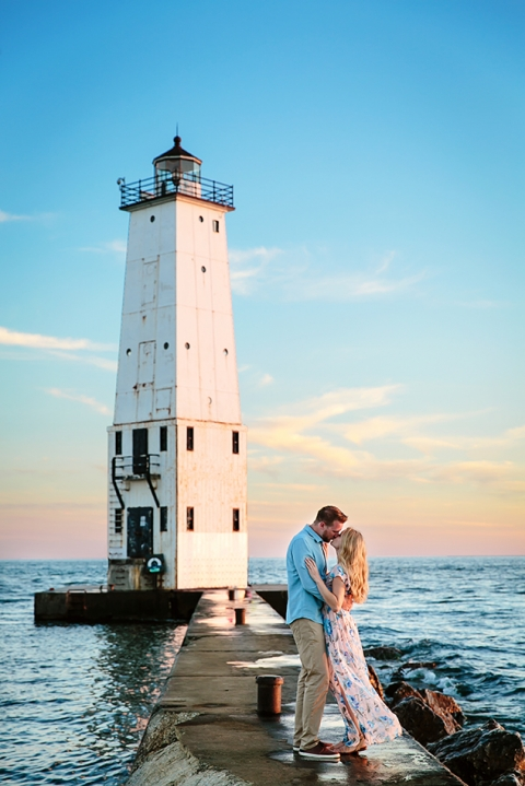Frankfort Lighthouse Pier Engagement Photo at sunset