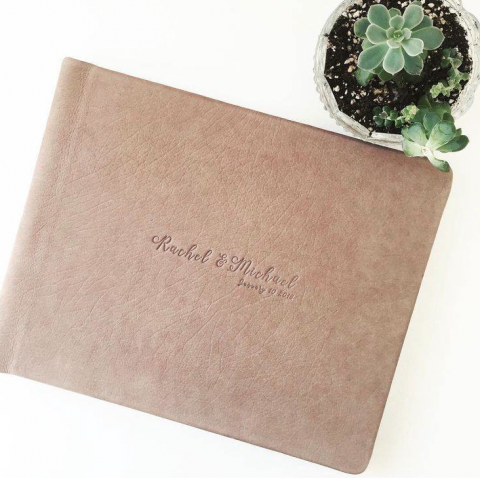gorgeous distressed leather wedding album