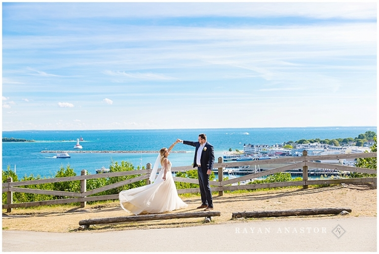 Bride and Groom on Mackinac Island